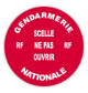 Rouleau 250 pastilles Diam.38 mm rouge H.securite (Gendarmerie Nationale)