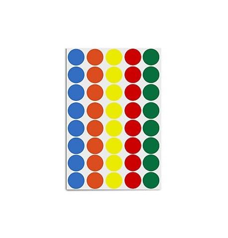 Adhesif pastille ronde differentes couleurs Diam. 8 mm / 385 pieces