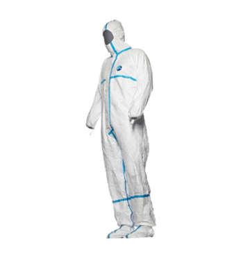 Combinaison Tyvek blanche (bande bleu surbotte et capuche) / L