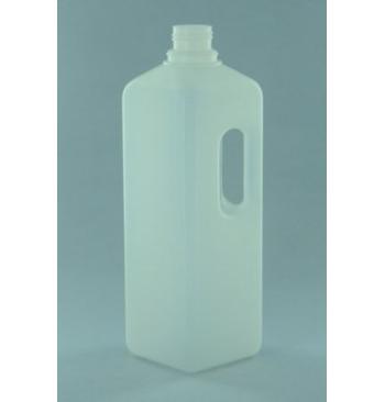 Flacon 1 litre plastique carre avec poignee + bouchon securise