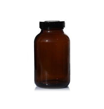 Flacon verre ambre 1000 Ml avec bouchon et fermeture large / 10
