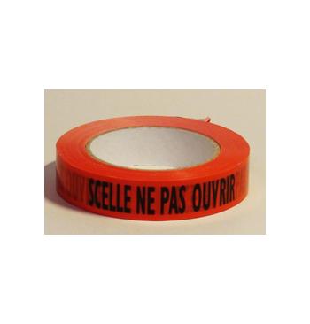 """Adhesif rouleau """"scelle ne pas ouvrir"""" rouge (25 mm x 100 m)"""